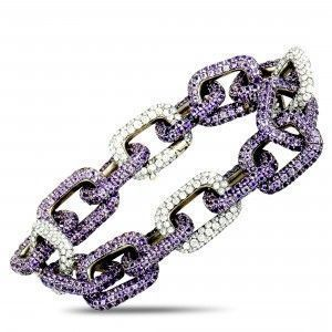 Mimi So 18K White Gold Diamond and Sapphire Chain Bracelet