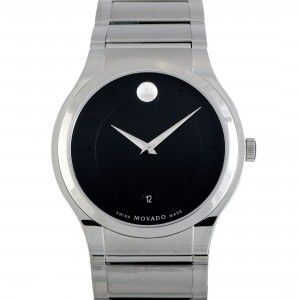 Movado Quadro Stainless Steel Black Dial Watch 0606478