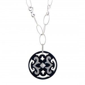 Nouvelle Bague 18K White Gold Diamond Pave and Black Enamel Round Pendant Long Necklace