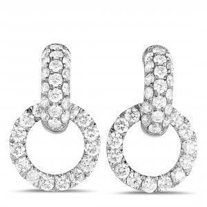 Odelia 18K White Gold Diamond Pave Small Link Dangle Push Back Earrings