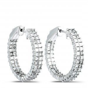 Odelia 18K White Gold Inside Out Diamond Pave Hoop Earrings