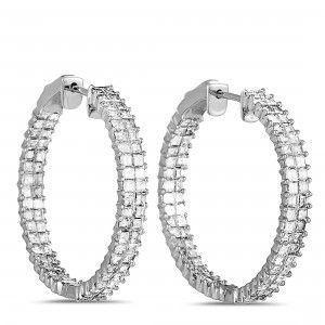 Odelia 18K White Gold Inside Out Diamond Hoop Earrings