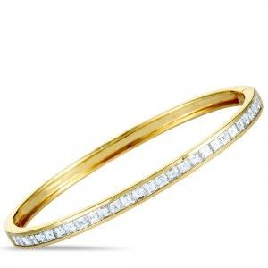 Odelia 18K Yellow Gold Diamond Invisible Setting Bangle Bracelet