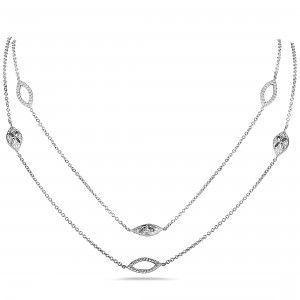 Odelia 18K White Gold Marquise Diamond Long Sautoir Necklace