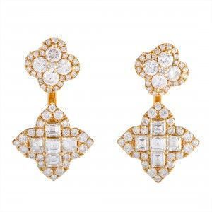 Odelia 18K Yellow Gold Round and Baguette Diamonds 2 Flower Dangling Push Back Earrings