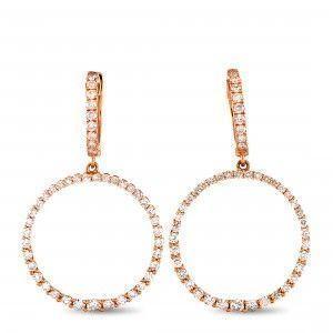 Odelia 18K Rose Gold Diamond Openwork Round Dangle Hinged Snap Earrings