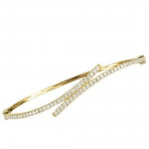 Odelia 18K Yellow Gold Diamond Row Thin Bypass Bangle Bracelet
