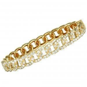 Odelia 18K Yellow Gold Diamond Pave Chain Bangle Bracelet