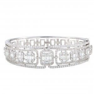 Odelia 18K White Gold Round and Baguette Diamond Pave Bangle Bracelet