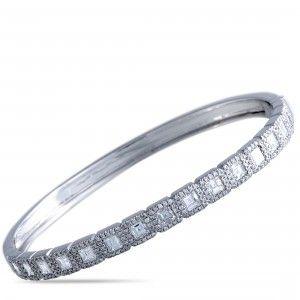 Odelia 18K White Gold Round and Asscher Cut Diamonds Bangle Bracelet