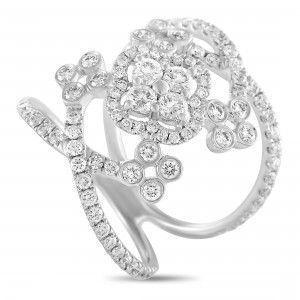 Odelia 18K White Gold Full Diamond Wide Flower Bridge Ring