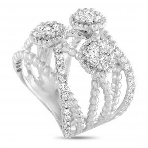 Odelia 18K White Gold Diamond 3-Flower Split Band Ring