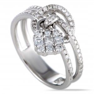 Odelia 18K White Gold Round and Baguette Cut Diamonds Charm Band Ring