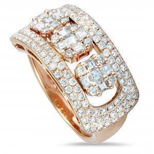 Odelia 18K Rose Gold Round and Asscher Cut Diamonds Sliding Band Ring