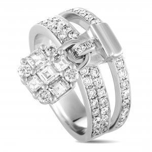 Odelia 18K White Gold Round and Asscher Cut Diamonds Charm Band Ring