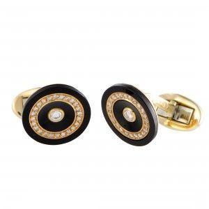 Piaget Vintage 18K Yellow Gold Diamond Pave and Onyx Cufflinks