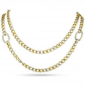 Pomellato 18K Yellow and White Gold Long Chain Necklace