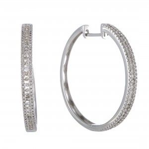 14K White Gold 3-Row 1.06 Carat Diamond Hoop Earrings