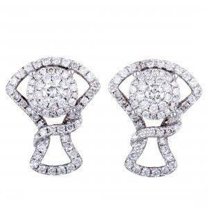 14K White Gold Full ~1ct Diamond Pave Stud Earrings