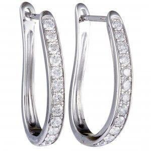 0.75 Carat 14K White Gold Diamond Oval Hoop Earrings (3/4 ctw) Diamonds