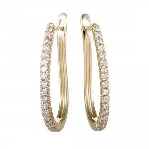 .35ct 14K Yellow Gold Diamond Oval Hoop Earrings