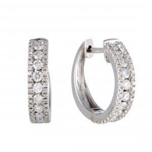 14K White Gold 3 Row Diamond Hoop Huggies Earrings .70 Carat (0.70 ctw) Diamonds