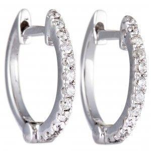 14K White Gold Diamond Tiny Hoop Earrings .16 Carat (0.16 ctw) Brilliant VS D-H Color Certified Diamonds