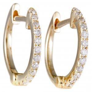 14K Yellow Gold Diamond Hoop Earrings AER-9834Y