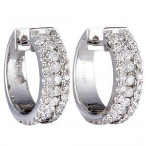14K White Gold ~.98ct Diamond Huggie Earrings