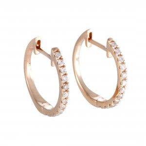14K Rose Gold Diamond Hoop Earrings AER-9846R