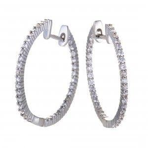 0.75 Carat 14K White Gold Diamond Thin Hoop Earrings (3/4 ctw) Diamonds