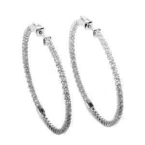 14K White Gold Diamond Large Hoop Earrings