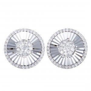 14K White Gold ~1ct Diamond Round Stud Earrings