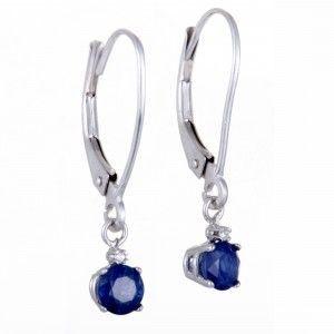 14K White Gold Diamond & Sapphire Dangle Earrings .02 Carat (0.02 ctw) Diamond