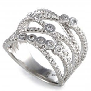 14K White Gold Diamond Crossover Band Ring