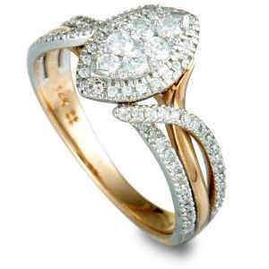 14K Yellow and White Gold Diamond Pave Marquise Ring