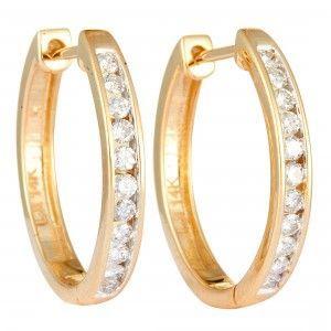 14K Yellow Gold Diamond Round Hoop Earrings