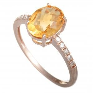 14K Rose Gold Diamond and Oval Citrine Ring
