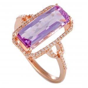 14K Rose Gold Diamonds and Rectangular Amethyst Ring