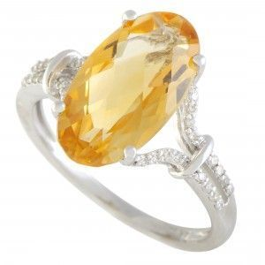 14K White Gold Diamond and Oval Citrine Ring