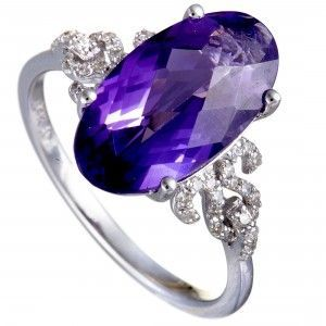 14K White Gold Diamond and Oval Amethyst Ring