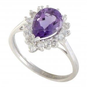 14K White Gold Diamond and Amethyst Pear Shape Ring