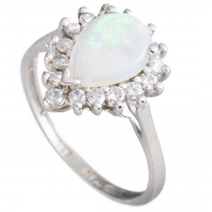 14K White Gold Diamond and Opal Pear Shape Ring