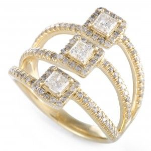 14K Yellow Gold Diamond Three Square Ring