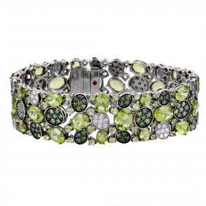 Roberto Coin Shanghai Womens 18K White Gold Peridot and White and Green Diamond Pave Bracelet