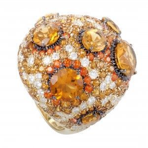 Roberto Coin 18K Yellow Gold Orange Citrine and Topaz and Diamond Cocktail Ring