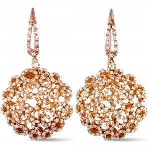 Roberto Coin 18K Rose Gold Diamond French Wire Earrings