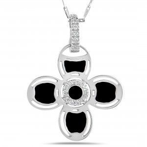 Roberto Coin 18K White Gold Diamond and Black Enamel Flower Pendant Necklace