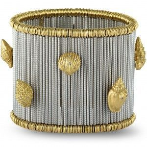 Roberto Demeglio 18K White and Yellow Gold Diamond Seashells Wide Elastic Bracelet