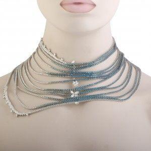 Stefan Hafner 18K White Gold Diamond Aquamarine and Topaz 13 String Drapery Collar Necklace